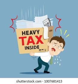 Businessman carrying very heavy debt tax, illustration vector cartoon
