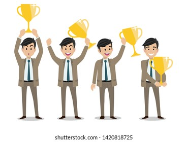 Businessman cartoon character, Business winner concept with set of four poses and gold trophy. Handsome business man in office style smart suit. Vector illustration