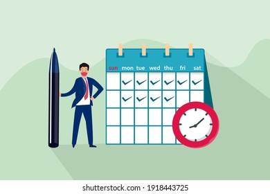 Businessman cartoon character checklist schedule on the calendar. Business planning vector concept