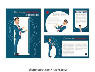 Businessman. cartoon character. design template, vector.