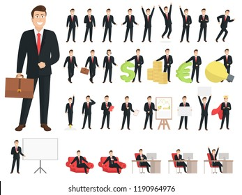 Businessman cartoon character set.