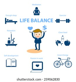 businessman cartoon character well being concept illustration for life balance