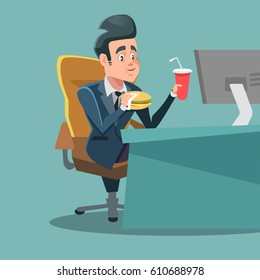 Businessman Cartoon Eating Unhealthy Fast Food at Office Work Place. Vector illustration