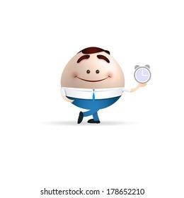 businessman cartoon holding a clock