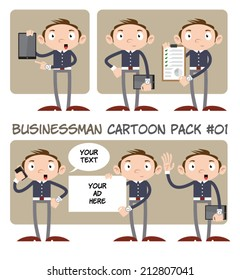 Businessman Cartoon Pack #01 - Set of 6 cute businessman cartoon characters with different poses, devices and text banners