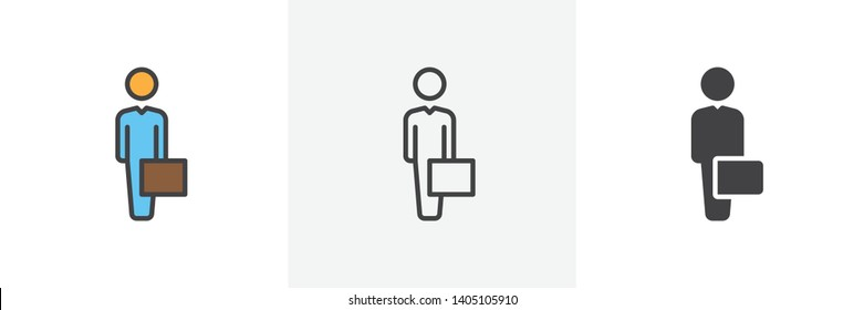Businessman with case icon. Line, glyph and filled outline colorful version, Man with briefcase outline and filled vector sign. Symbol, logo illustration. Different style icons set. Vector graphics