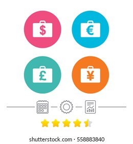 Businessman case icons. Cash money diplomat signs. Dollar, euro and pound symbols. Calendar, cogwheel and report linear icons. Star vote ranking. Vector