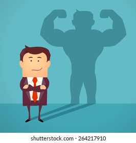 Businessman casting strong man shadow. Successful businessman concept. Vector illustration