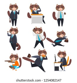 Businessman cat in different situations, humanized animal cartoon character in a suit at work vector Illustration on a white background