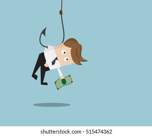 Businessman catch Money by Hanging with Fishing Hook, Business Concept Cartoon Vector Illustration