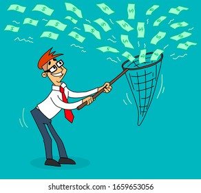 Businessman catches falling from the sky money use a butterfly net