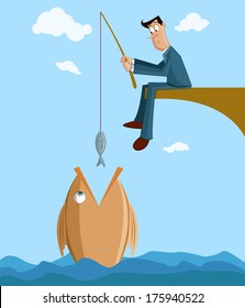 Businessman catching big fish with small fish in fishing rod