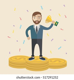 Businessman celebrates with trophy in his hands, Successful man