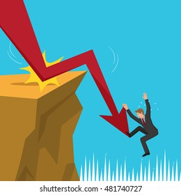 Businessman chained the arrow down falling into the cliff, vector illustration cartoon