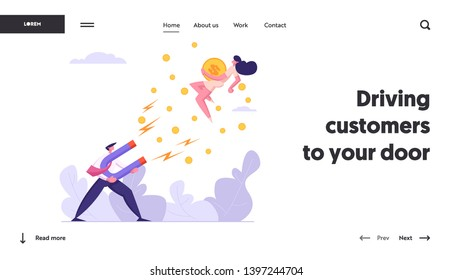 Businessman Character Attract Money Cash with Big Magnet Website Banner. Man Sucking from Businesswoman with Magnetism. Business Strategy Profit Concept Landing Page. Vector flat cartoon illustration