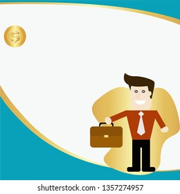 Businessman character background design. vector illustration