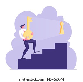Businessman Character Carry Heavy Huge Gold Key Upstairs Try to Unlock Keyhole. Leadership, Career Growth, Business Task Solution, Motivation, Solving Problem Concept. Cartoon Flat Vector Illustration