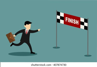 Businessman character and cartoon running into finish line achieving accomplishment