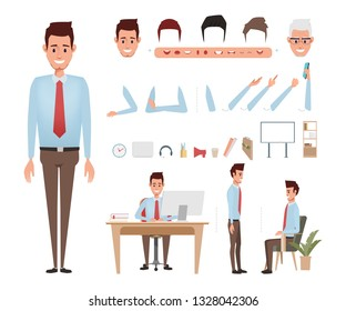 Businessman character creation for animation. Animated face emotion and mouth and hair. Set of businessman doing job.