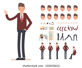 Businessman character creation for animation. Ready for animated face emotion and mouth.