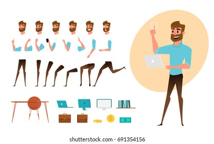 Businessman character creation set for animation. Parts body template. Different emotions, poses and  running, walking, standing, sitting. Cartoon Vector Illustration.
