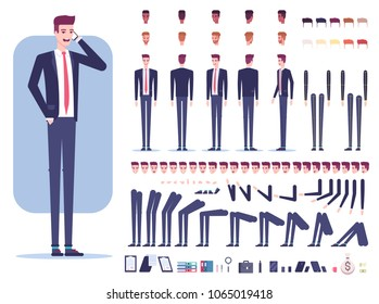 Businessman character creation set with different view, facial expressions, hair colors, skin tone, body parts, accessories and office supplies isolated on white background vector flat illustration.