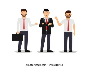 Businessman character design. successfull bussiness man character illustration
