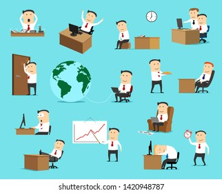 Businessman character icons, business situation metaphors. Vector office manager at work with investment diagram presentation, company director with laptop, surprised with success and deadline tired