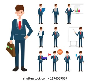 Businessman character in job with gadget.