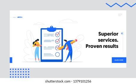 Businessman Character Mark Checklist with Pen Banner. Businesswoman Completion Business Task. Goal Achievements People Planning Schedule Concept Website Landing Page. Flat Vector Cartoon Illustration