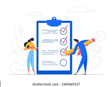 Businessman Character Mark Checklist with Pencil. Businesswoman Completion Business Task. Goal Achievements People Planning Schedule Concept. Flat Vector Cartoon Illustration