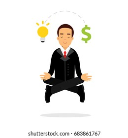 Businessman character meditating in lotus pose and have successful business idea vector Illustration