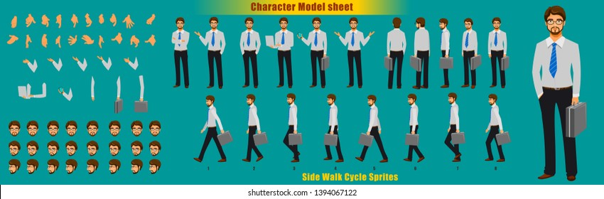 Businessman Character Model sheet with Walk cycle Animation. character design. Front, side, back view animated character. character creation set with various views, face emotions,poses and gestures.