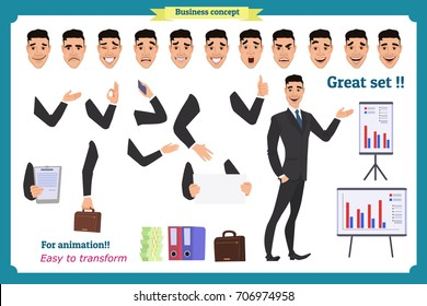 Businessman character. poses,full length, different views, emotions, body elements.Isolated vector on white.Man in business suit.Flat for animation.Business people.Man avatar expressions.Man character