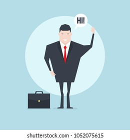The businessman character saying hi with speech bubble.