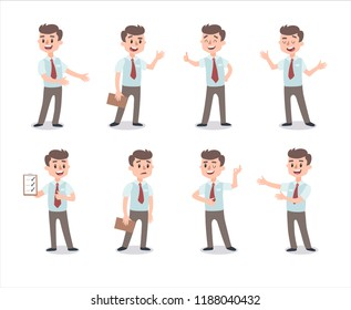 Businessman character set. Animate character. Male personage constructor. Different man postures. Vector set personage. Isolated on white background.