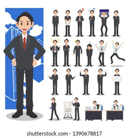 Businessman character set on a white background