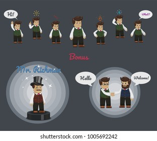 Businessman character set with some icons and speech bubbles. Bonus: Aristocratic character - Mr. Richman and meeting at work.