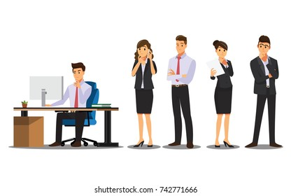 Businessman character Think  and Consider set.