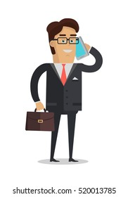 Businessman character vector. Cartoon in flat design. Smiling man in suite, glasses with briefcase making calls. Illustration for business concepts, people infographics. Isolated on white background.