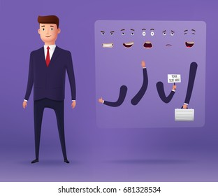 Businessman characters for animation and other projects. 3d stylized. Vector illustration