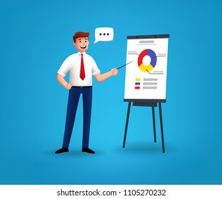 Businessman characters near the flipchart. 3d stylized. Vector illustration