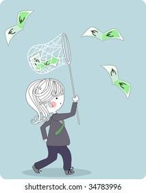 businessman chasing euros