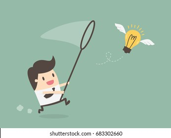 Businessman Chasing Flying Light Bulb. Inspiration Concept. Business Concept Illustration.