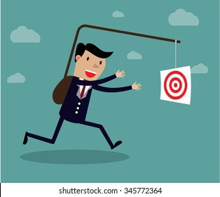 Businessman chasing his target, Motivation concept. Creative vector cartoon illustration on self defeating method to achieve wealth concept