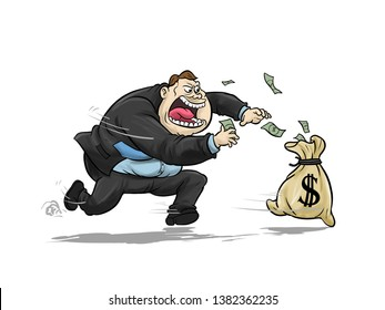 Businessman chasing money bag dollar run away. vector file is available to download