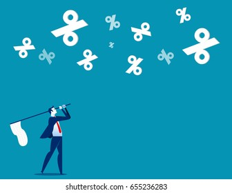 Businessman chasing percentage. Concept business vector illustration.