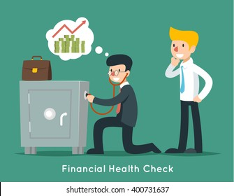 Businessman check financial or money health with stethoscope. Business concept. Finance doctor, wealth safe. Vector illustration