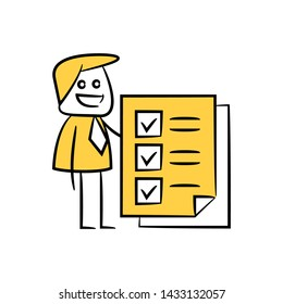 businessman and check list document icon in yellow stick figure theme