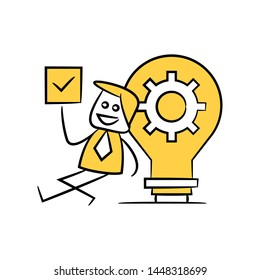 businessman and check mark sitting next to light bulb gear yellow stick figure theme